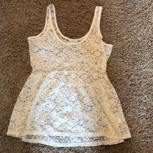 ivory lace over tank